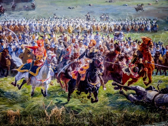 Marshal Ney leads the reserve and Garde cavalry against the Allied squares. Waterloo panorama.
