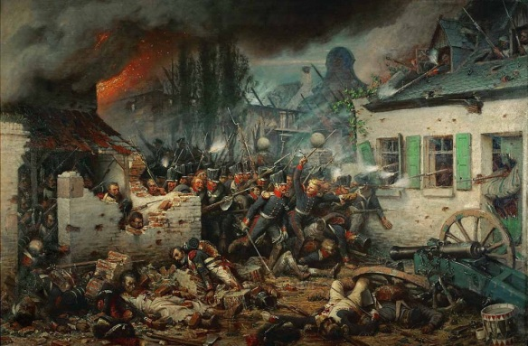 Prussian troops fight to the death with the French of Lobau's Corps and the Garde in Plancenoit. By Northen