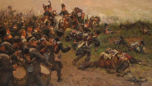 Chassé's Division charges over the hill to repulse the Old Garde Grenadiers. Papandrecht.