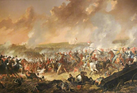 Wellington orders the Foot Guards to repulse the Garde, while Uxbridge brings up the 10th and 18th Hussars. Dighton.