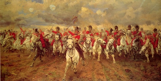 "The iconic ""Scotland Forever"" by Lady Butler. The enduring image of both the battle and the charge."