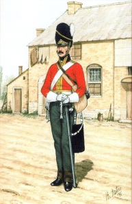 Reconstruction of a Private Dragoon of the RNBD in campaign dress. Brian Fosten.