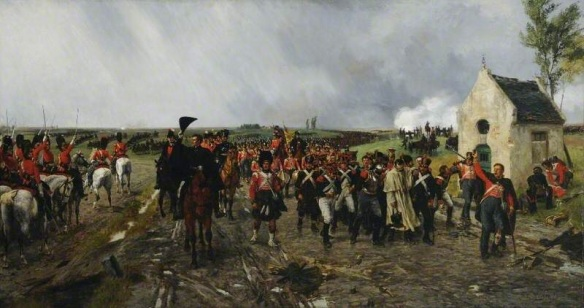 The Retreat from Quatre Bras, showing the Greys in reserve cheering Wellington as the infantry marches away. Crofts.