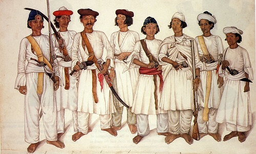Warriors of the Gurkha Federation, c 1815. Note the disciplined way which they hold their muskets, indicating formal linear training.
