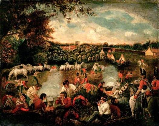 Scots Greys in bivouac 1815. James Howe.