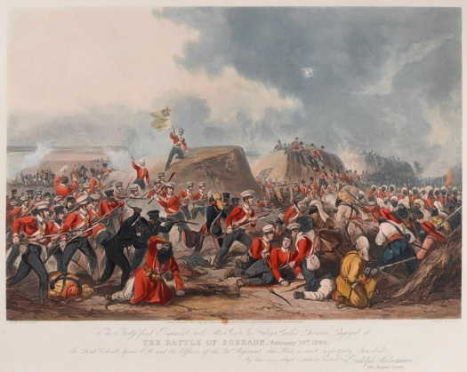The Battle of Sobraon 10 February 1846. Coloured aquatint by J Harris after H Martens, published by Rudolph Ackermann, 1 January 1848.
