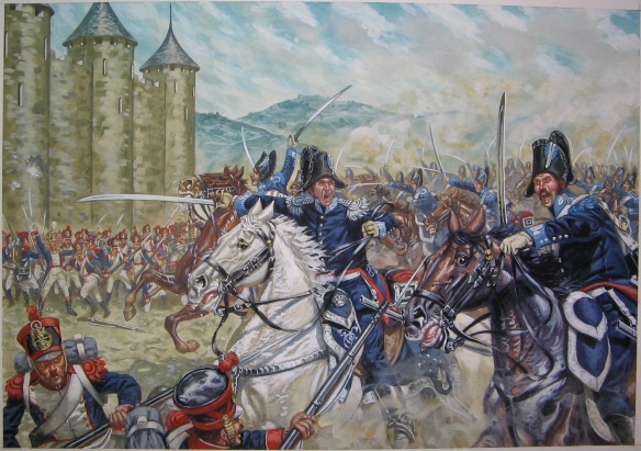 Lt. Cavassola leads the charge of the Royal Carabinieri at Grenoble. By Rava.