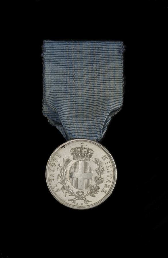 Sardinian Medal for Valour awarded to Gunner John Bull, Royal Marine Artillery. Held in the Royal Maritime Museum Greenwich
