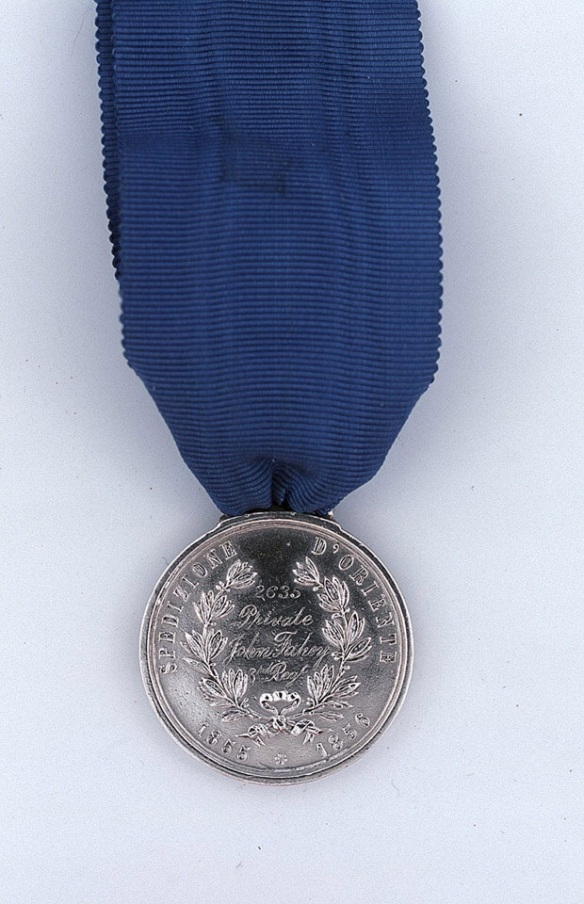 Sardinian War Medal awarded to Private John Fahey, 3rd (The East Kent) Regiment of Foot (The Buffs), 1856. National Army Museum.