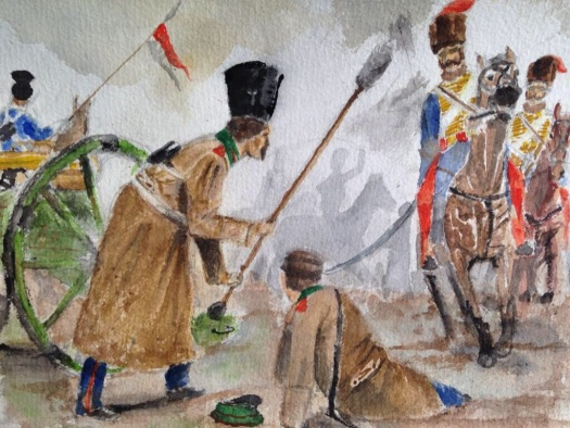 Cossack Studenekin saves the life of Sotnik Rebenin during the charge of the light brigade. Painting by the author.