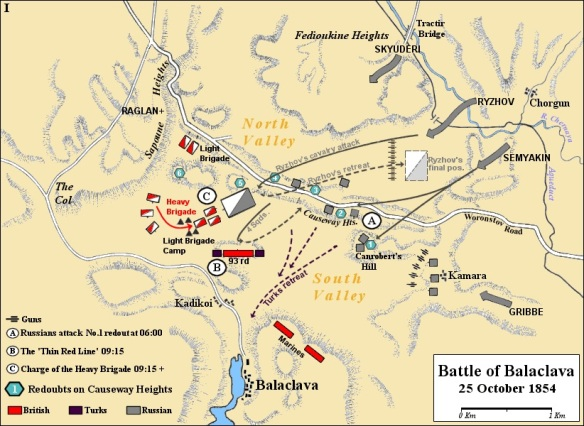 Map of the early actions of the battle, showing the landmarks and movements up to the charge of the heavy brigade.