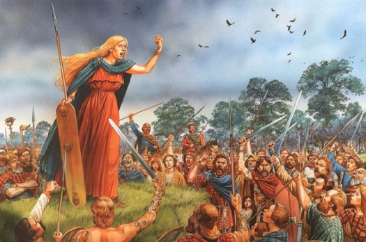 A recent reconstruction of Boudicca whipping up her troops. Some now think she was blond, with a fiery temper, rather than fiery hair. Peter Dennis.