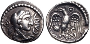 A coin depicting Caratacus.