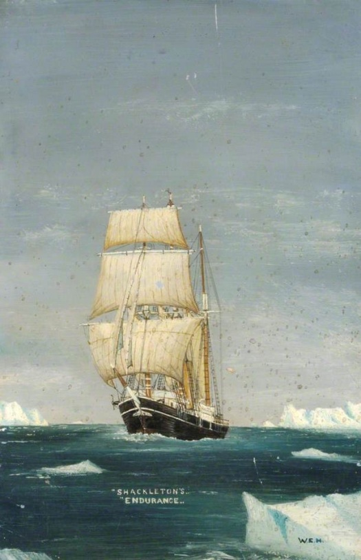 Endurance under sail amongst icebergs. W.E.N.  National Museum of the Royal Navy.