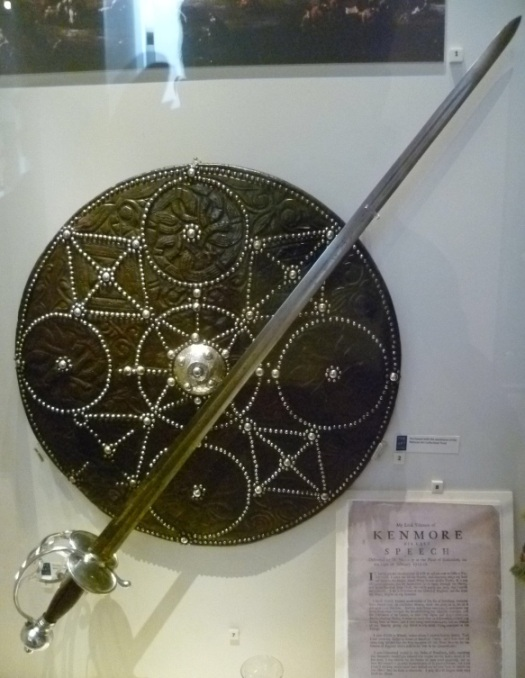 Highland targe and broadsword of European or Lowland manufacture.