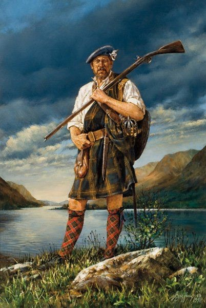 In look, Highland dress had not changed much since the late 1600's. Painting by Robert Griffing.