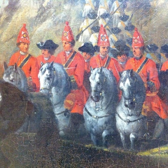 Detail from a painting of the Battle of Glenshiel, 1719 showing the Scots Greys, who were known as Portman's Dragoons in 1715.