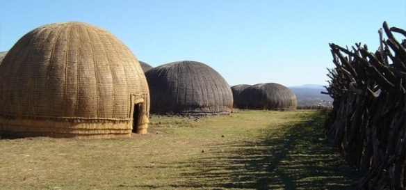 "Reconstructed ""beehive"" huts at ONdini."