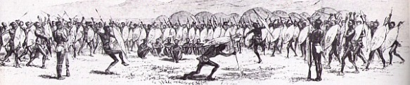A 19th century sketch of an ibutho dancing at a homestead.