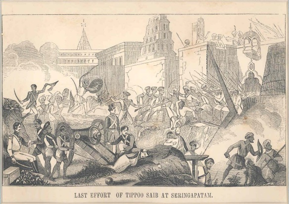 British and Company Troops rush to finish off Tipu at the Water Gate.