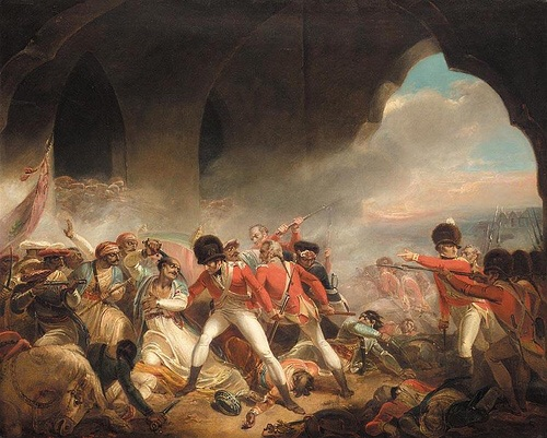 A view from inside the gate, Tipu is wounded multiple times before being killed. Henry Singleton has included many of the reported events of his death. 1800