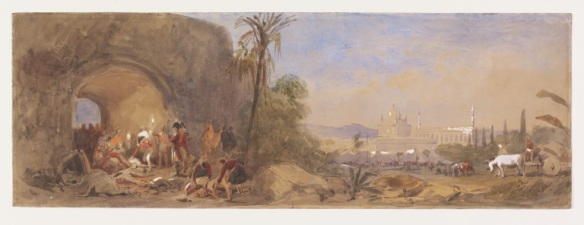 I cannot find the name of the artist, though I suspect it is Turner, this shows the discovery of Tipu's body.