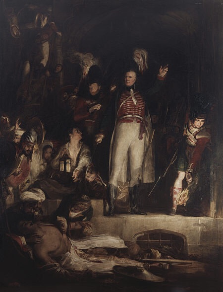 The fall of Tipu in Seringapatam was the stuff of legend right down to 1839 when David Wilkie painted this picture. Curiously, despite vilifying him and the significance of him lying in a gutter at Baird's feet cannot be missed, his death was depicted in terms almost akin to the Death of Wolfe. When General Moore died in 1809 he got only a few engravings, Tipu's death attracted an almost romantic fascination for the British.