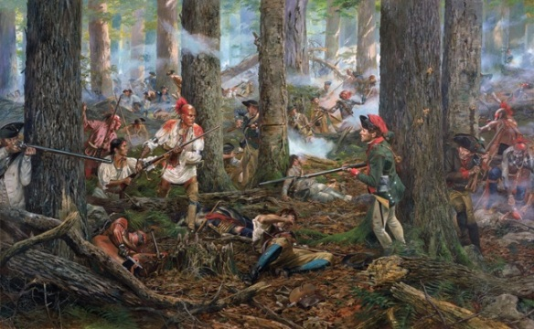 Battle of Oriskany, the Oneidas fight alongside their American allies, against Brant's Mohawks and British allies. Don Troiani.