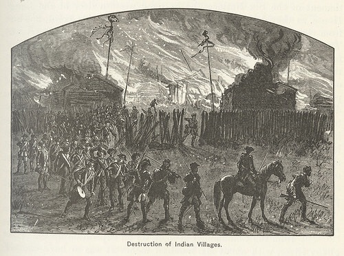Destruction of an Indian village. A common sight along the northern frontier during the Sullivan Expedition.