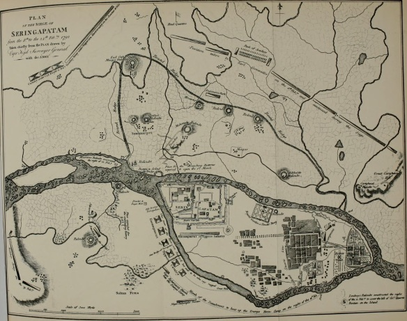 The best maps of Seringapatam are those drawn of the unsuccessful 1792 siege. Note Sultanpettah at the bottom and the intricacy of the inner fortifications.