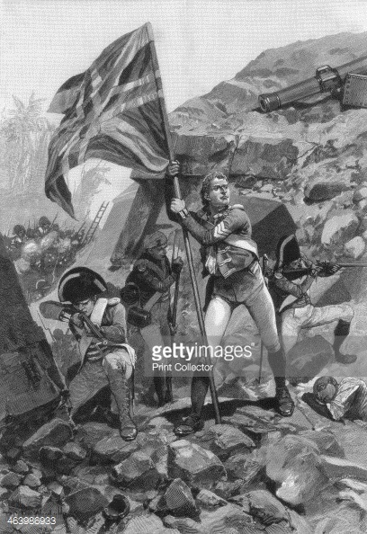 Sergeant Graham of the Bombay Europeans mounting the breach.