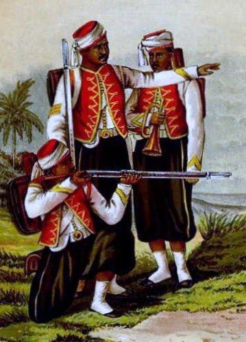 A sergeant, private and bugler of the 1st West India Regiment circa 1870. Showing their box knapsack equipment and Snider Rifles.