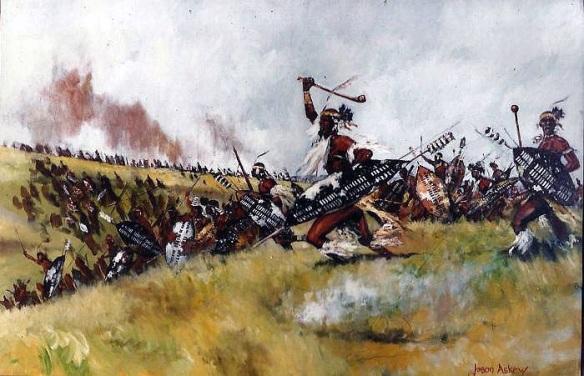 Zulu amabutho charge by Jason Askew.