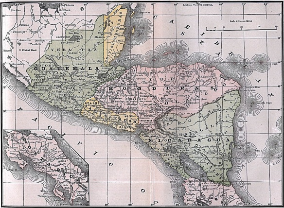 British Honduras can be seen in yellow at the top of this map.