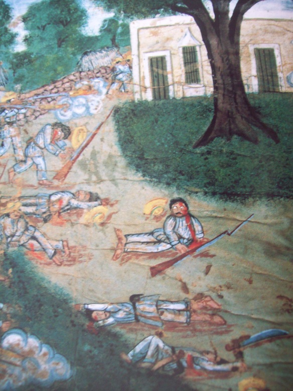 This gruesome mural that depicts an event of the Caste Wars, demonstrates the carnage of this conflict that was nothing short of apocalyptic.