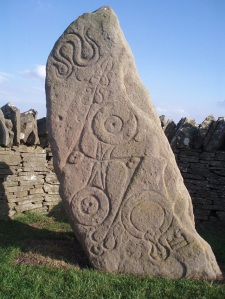 A Pictish carving representing a Snake on a stone at Aberlemno.