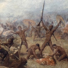 Victorious Zulus, detail from the Fripp painting.