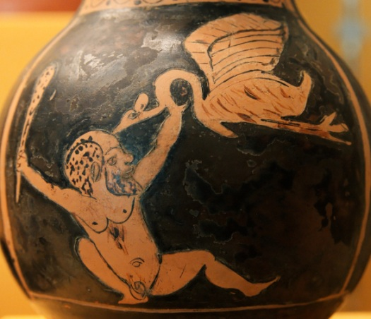 A Greek Vase painting showing a Pygmy fighting a crane.