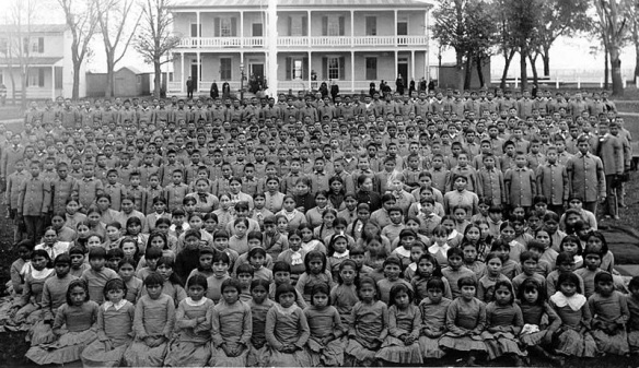 The famous Carlisle Indian School in Pennsylvania was just one of many schools set up to make sure the new generation of Indians forgot about their culture and history. 1900.