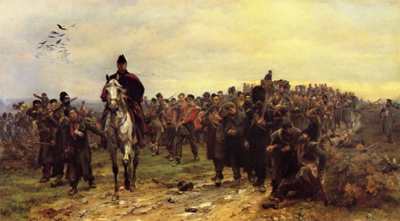 Return from Inkerman. A column of weary soldiers return from the punishing Crimean battle.