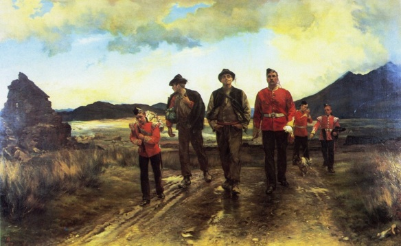 Listed for the Commaught Rangers, shows two Irishmen marching off to join their regiment. The models were found by William Butler. The recruit on the right exudes quiet confidence and pride, while the man on the left looks symbolically back at a ruined hovel indicative of what has driven him to enlist.