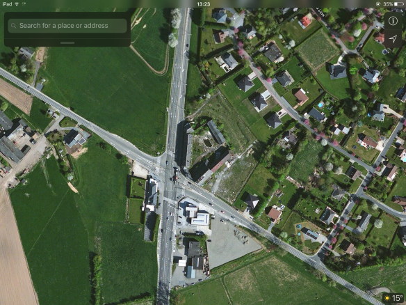 Satellite image of the Former position of Quatre Bras Farm.