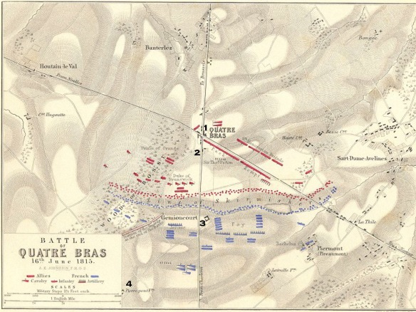 An old and not topographically brilliant map of the action at Quatre Bras, but at 1, is the farm of Quatre Bras,